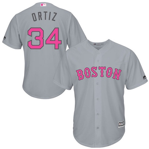 Men's Majestic Boston Red Sox #34 David Ortiz Replica Grey 2016 Mother's Day Cool Base MLB Jersey