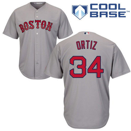 Men's Majestic Boston Red Sox #34 David Ortiz Replica Grey Road Cool Base MLB Jersey