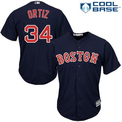 Men's Majestic Boston Red Sox #34 David Ortiz Replica Navy Blue Alternate Road Cool Base MLB Jersey