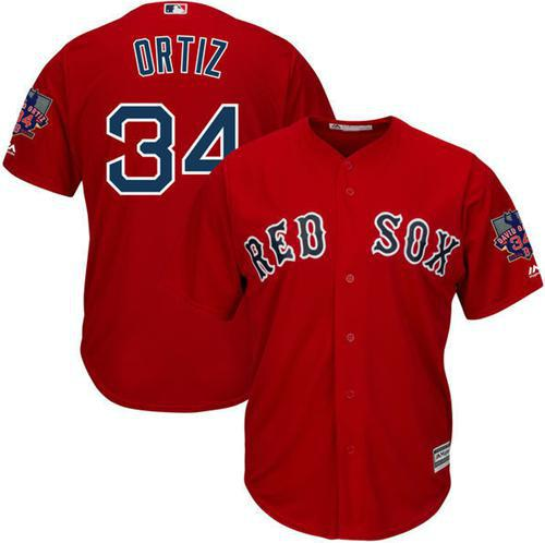 Men's Majestic Boston Red Sox #34 David Ortiz Replica Red Alternate Home Retirement Patch Cool Base MLB Jersey
