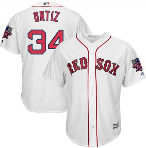 Men's Majestic Boston Red Sox #34 David Ortiz Replica White Home Retirement Patch Cool Base MLB Jersey