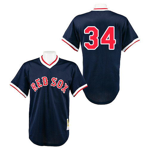 Men's Mitchell and Ness Boston Navy Blue Sox #34 David Ortiz Replica Navy Blue Throwback MLB Jersey