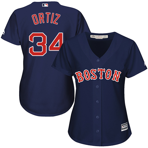 Women's Majestic Boston Red Sox #34 David Ortiz Authentic Navy Blue Alternate Road MLB Jersey