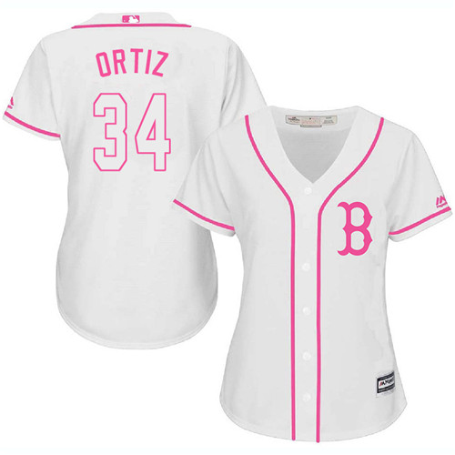 Women's Majestic Boston Red Sox #34 David Ortiz Authentic White Fashion MLB Jersey