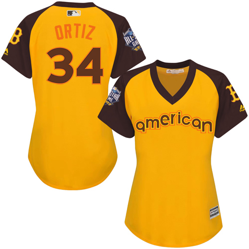 Women's Majestic Boston Red Sox #34 David Ortiz Authentic Yellow 2016 All-Star American League BP Cool Base MLB Jersey