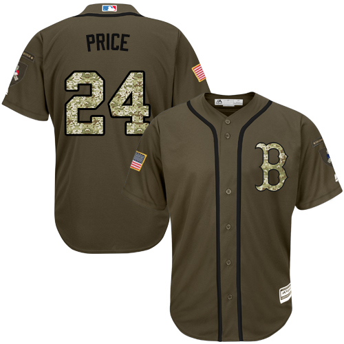 Men's David Price Boston Red Sox #24 Green Salute to Service MLB Jersey