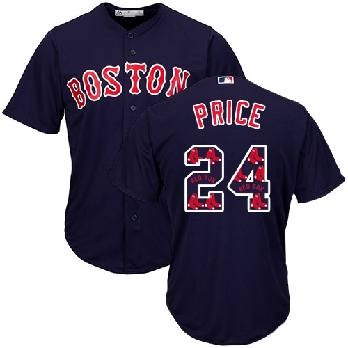 Men's Majestic Boston Red Sox #24 David Price Authentic Navy Blue Team Logo Fashion Cool Base MLB Jersey