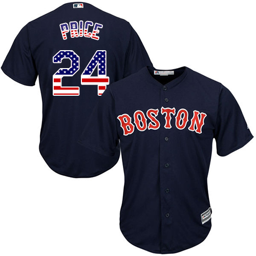 Men's David Price Boston Red Sox #24 Navy Blue USA Flag MLB Jersey