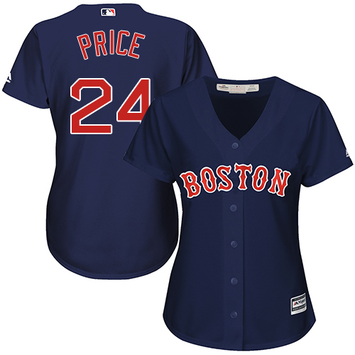 Women's Majestic Boston Red Sox #24 David Price Authentic Navy Blue Alternate Road MLB Jersey