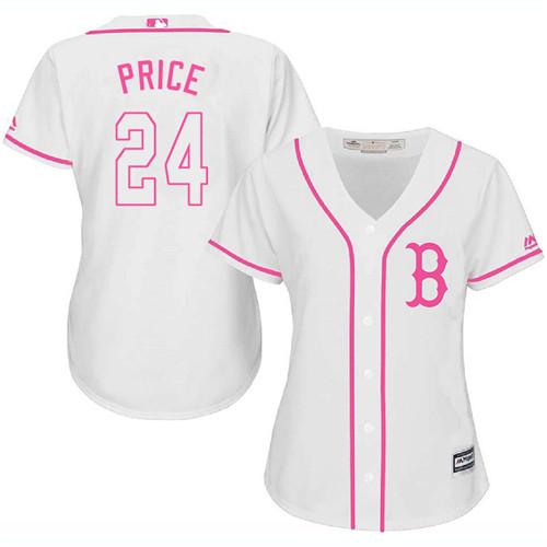 Women's David Price Boston Red Sox #24 White MLB Jersey