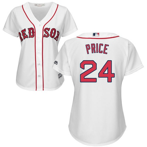 Women's Majestic Boston Red Sox #24 David Price Authentic White Home MLB Jersey
