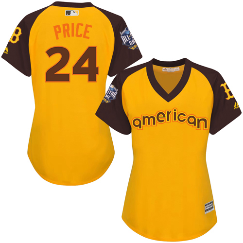 Women's Majestic Boston Red Sox #24 David Price Authentic Yellow 2016 All-Star American League BP Cool Base MLB Jersey