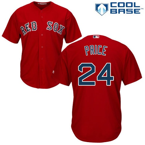 Youth Majestic Boston Red Sox #24 David Price Authentic Red Alternate Home Cool Base MLB Jersey