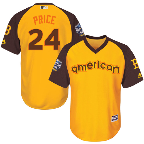 Youth David Price Boston Red Sox #24 Yellow 2016 All-Star BP MLB Jersey