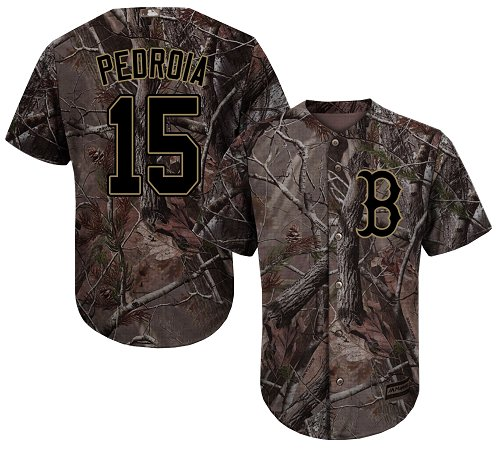 Men's Majestic Boston Red Sox #15 Dustin Pedroia Authentic Camo Realtree Collection Flex Base MLB Jersey