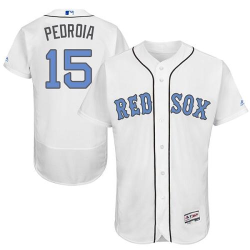 Men's Majestic Boston Red Sox #15 Dustin Pedroia Authentic White 2016 Father's Day Fashion Flex Base MLB Jersey