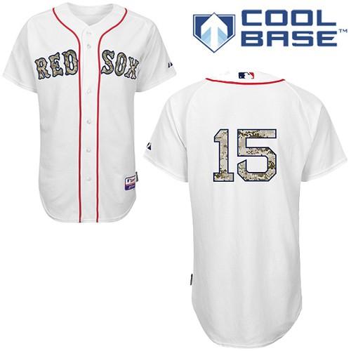 Men's Majestic Boston Red Sox #15 Dustin Pedroia Authentic White USMC Cool Base MLB Jersey