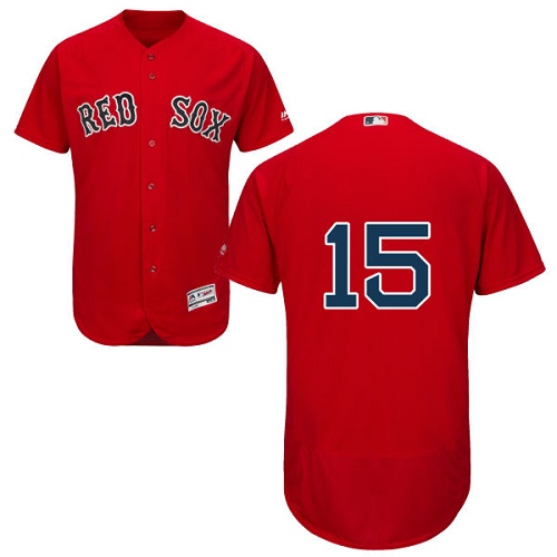 Men's Majestic Boston Red Sox #15 Dustin Pedroia Red Alternate Flex Base Authentic Collection MLB Jersey