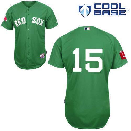 Men's Majestic Boston Red Sox #15 Dustin Pedroia Replica Green Cool Base MLB Jersey