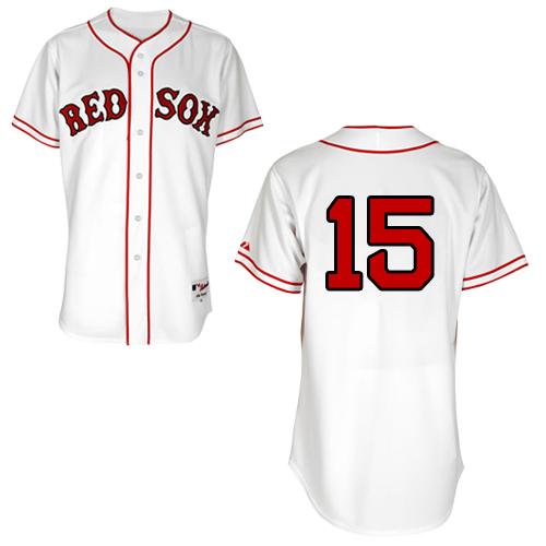 Men's Majestic Boston Red Sox #15 Dustin Pedroia Replica White 1936 Turn Back The Clock MLB Jersey