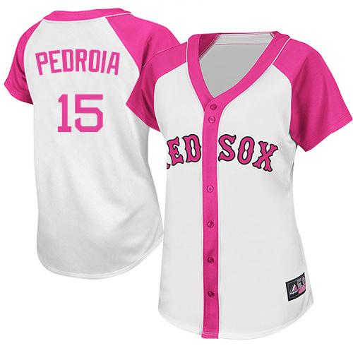 Women's Majestic Boston Red Sox #15 Dustin Pedroia Authentic White/Pink Splash Fashion MLB Jersey