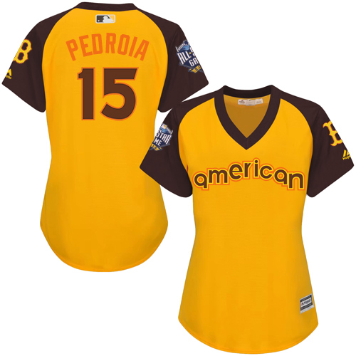 Women's Majestic Boston Red Sox #15 Dustin Pedroia Authentic Yellow 2016 All-Star American League BP Cool Base MLB Jersey