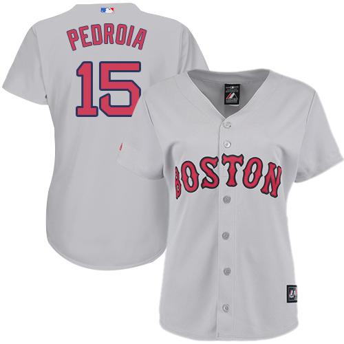Women's Majestic Boston Red Sox #15 Dustin Pedroia Replica Grey MLB Jersey