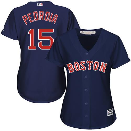 Women's Majestic Boston Red Sox #15 Dustin Pedroia Replica Navy Blue Alternate Road MLB Jersey