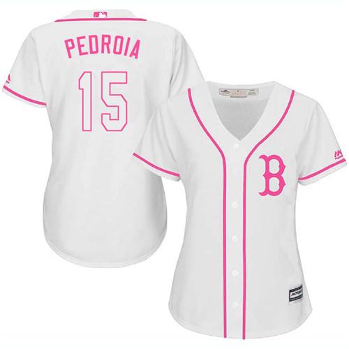 Women's Majestic Boston Red Sox #15 Dustin Pedroia Replica White Fashion MLB Jersey