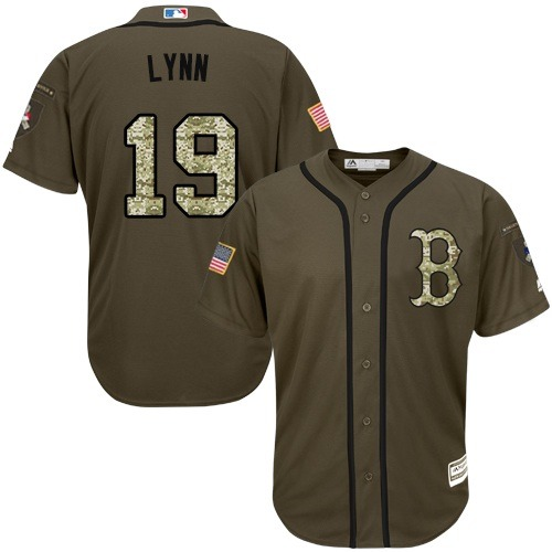 Men's Majestic Boston Red Sox #19 Fred Lynn Authentic Green Salute to Service MLB Jersey