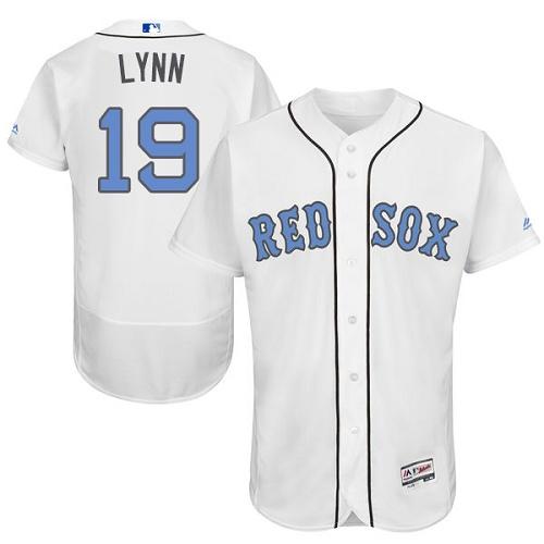 Men's Majestic Boston Red Sox #19 Fred Lynn Authentic White 2016 Father's Day Fashion Flex Base MLB Jersey