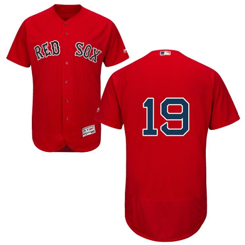 Men's Majestic Boston Red Sox #19 Fred Lynn Red Alternate Flex Base Authentic Collection MLB Jersey