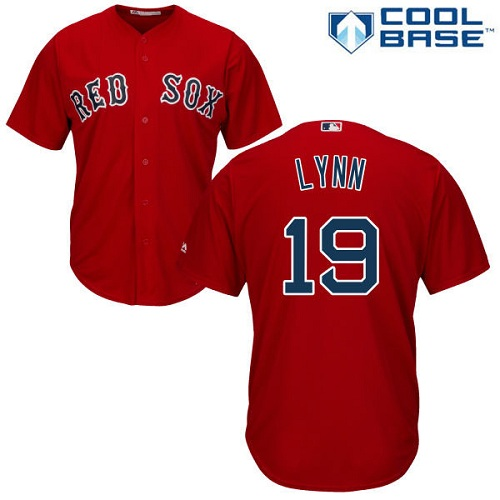 Men's Majestic Boston Red Sox #19 Fred Lynn Replica Red Alternate Home Cool Base MLB Jersey