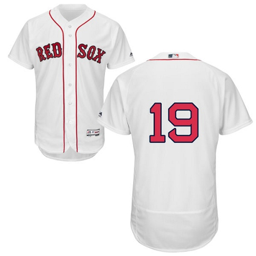 Men's Majestic Boston Red Sox #19 Fred Lynn White Home Flex Base Authentic Collection MLB Jersey