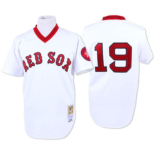 Men's Mitchell and Ness Boston Red Sox #19 Fred Lynn Authentic White Throwback MLB Jersey
