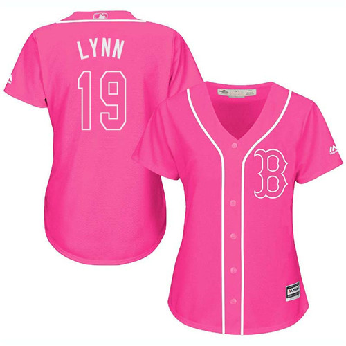 Women's Majestic Boston Red Sox #19 Fred Lynn Replica Pink Fashion MLB Jersey