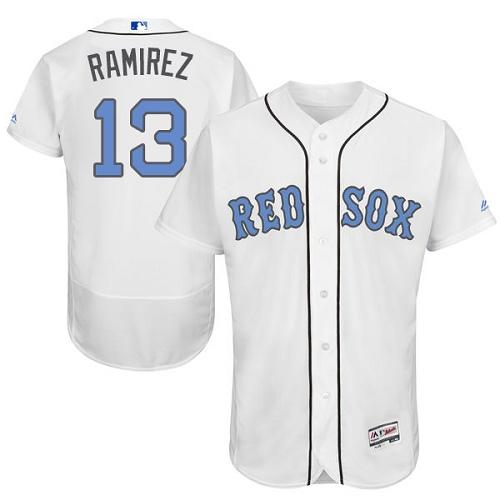 Men's Majestic Boston Red Sox #13 Hanley Ramirez Authentic White 2016 Father's Day Fashion Flex Base MLB Jersey