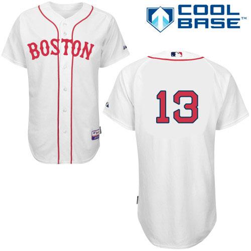 Men's Majestic Boston Red Sox #13 Hanley Ramirez Authentic White New Cool Base MLB Jersey