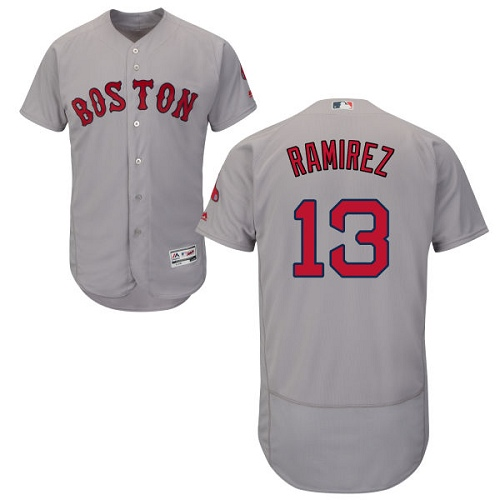 Men's Hanley Ramirez Boston Red Sox #13 Grey Road Collection MLB Jersey