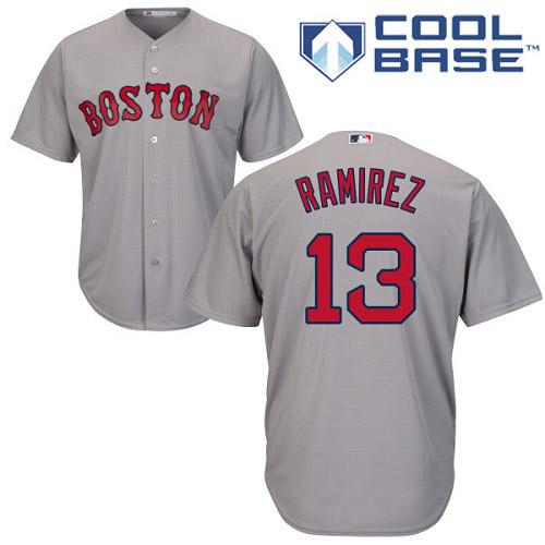 Men's Majestic Boston Red Sox #13 Hanley Ramirez Replica Grey Road Cool Base MLB Jersey