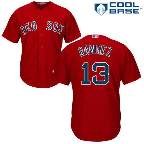 Men's Majestic Boston Red Sox #13 Hanley Ramirez Replica Red Alternate Home Cool Base MLB Jersey