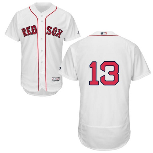 Men's Majestic Boston Red Sox #13 Hanley Ramirez White Home Flex Base Authentic Collection MLB Jersey