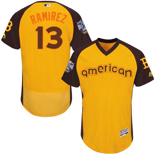 Men's Majestic Boston Red Sox #13 Hanley Ramirez Yellow 2016 All-Star American League BP Authentic Collection Flex Base MLB Jersey