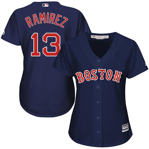 Women's Majestic Boston Red Sox #13 Hanley Ramirez Authentic Navy Blue Alternate Road MLB Jersey