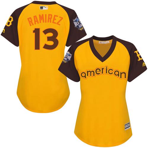 Women's Majestic Boston Red Sox #13 Hanley Ramirez Authentic Yellow 2016 All-Star American League BP Cool Base MLB Jersey