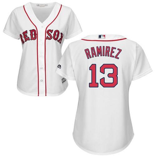 Women's Majestic Boston Red Sox #13 Hanley Ramirez Replica White Home MLB Jersey