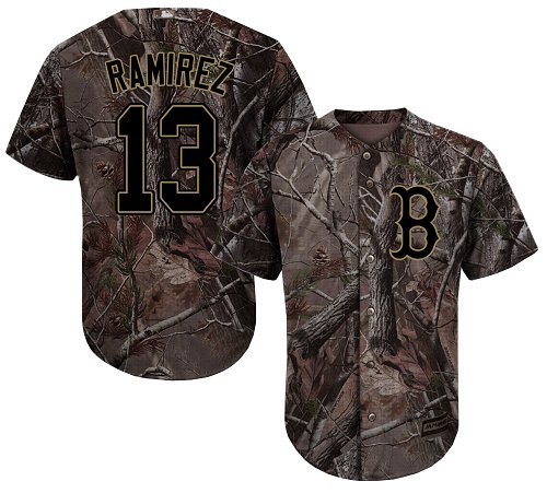 Youth Majestic Boston Red Sox #13 Hanley Ramirez Authentic Camo Realtree Collection Flex Base MLB Jersey