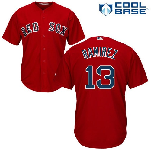 Youth Majestic Boston Red Sox #13 Hanley Ramirez Authentic Red Alternate Home Cool Base MLB Jersey