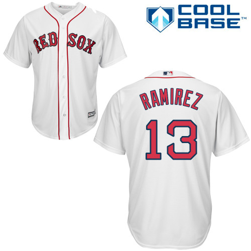 Youth Majestic Boston Red Sox #13 Hanley Ramirez Authentic White Home Cool Base MLB Jersey