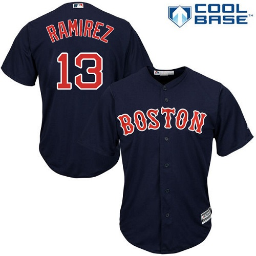 Youth Majestic Boston Red Sox #13 Hanley Ramirez Replica Navy Blue Alternate Road Cool Base MLB Jersey